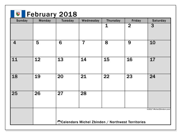 Calendar February 2018, with the holidays of Northwest Territories. Free printable bullet journal.