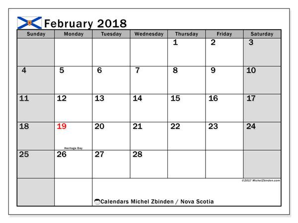 Calendar February 2018, with the holidays of Nova Scotia. Calendar for the month to print free.