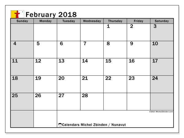 Calendar February 2018, with the holidays of Nunavut. Free calendar to print.