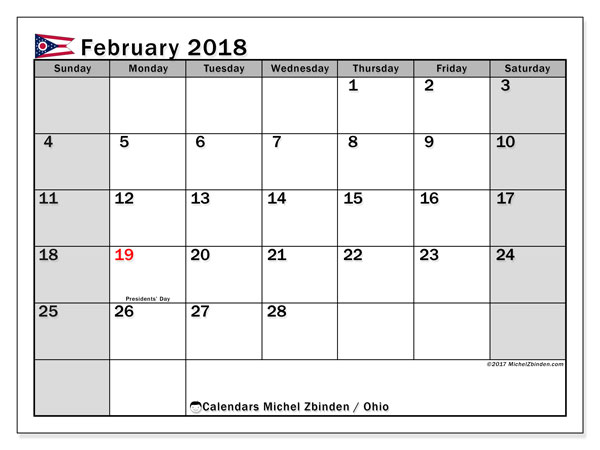 Calendar February 2018, with the holidays of Ohio. Free printable monthly calendar.