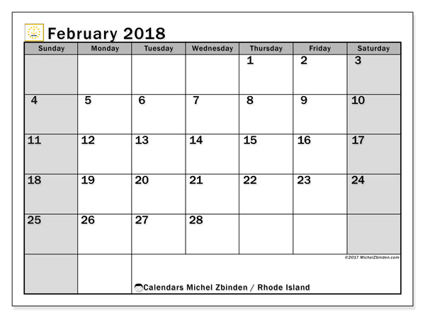 Calendar February 2018, with the holidays of Rhode Island. Free planner to print.