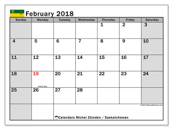Calendar February 2018, with the holidays of Saskatchewan. Planner to print free.