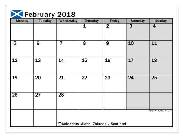 Calendar February 2018, with the holidays of Scotland. Monthly calendar to print free.