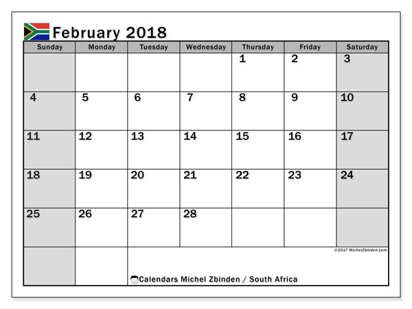 Calendar February 2018, with the holidays of South Africa. Free printable planner.
