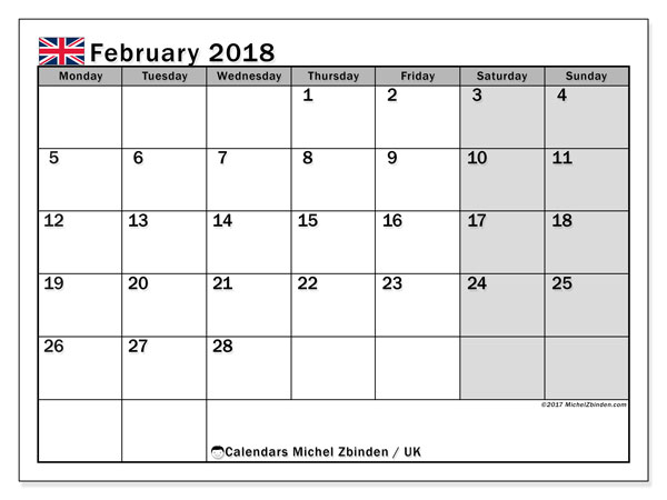 Calendar February 2018, with the holidays of the UK. Free printable bullet journal.