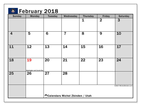 Calendar February 2018, with the holidays of Utah. Free printable calendar.