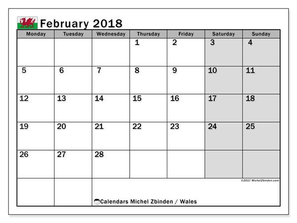 Calendar February 2018, with the holidays of Wales. Planner to print free.