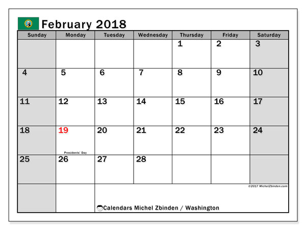 Calendar February 2018, with the holidays of Washington. Free printable calendar.