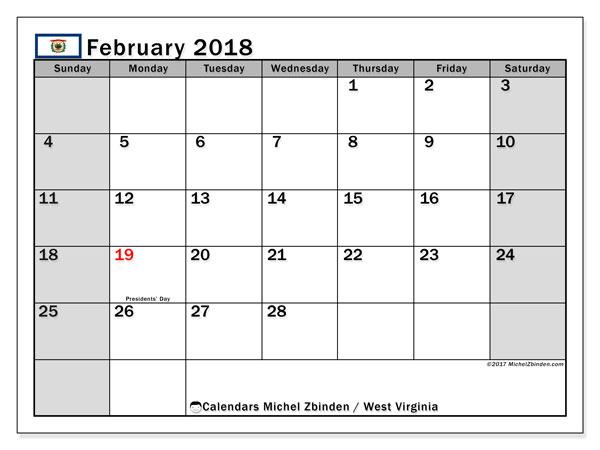 Calendar February 2018, with the holidays of West Virginia. Free printable calendar.