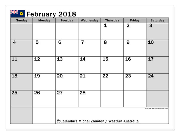 Calendar February 2018, with the holidays of Western Australia. Free planner to print.