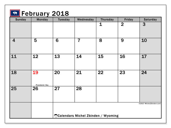 Calendar February 2018, with the holidays of Wyoming. Bullet journal to print free.