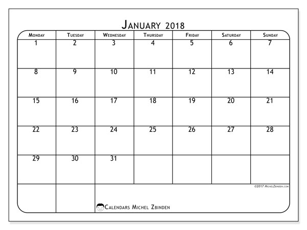 Calendar January 2018 (51MS). Free printable bullet journal.