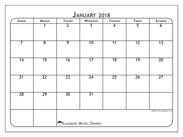Calendar January 2018 (51SS). Free printable planner.