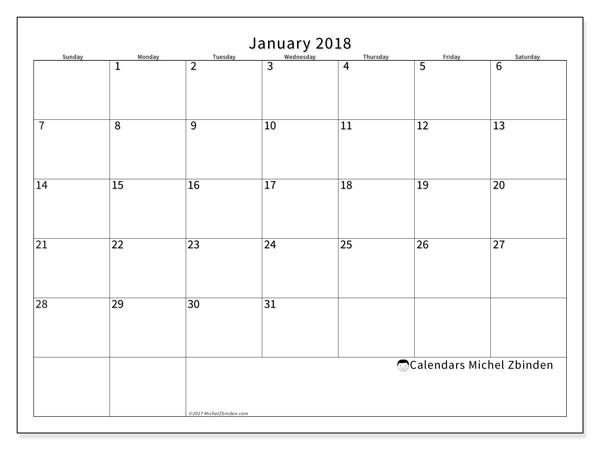 Calendar January 2018 (53SS). Free printable monthly calendar.