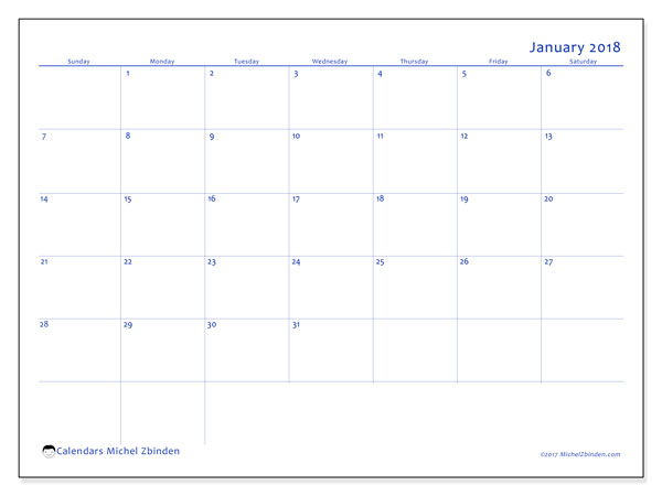 Calendar January 2018 (55SS). Free bullet journal to print.