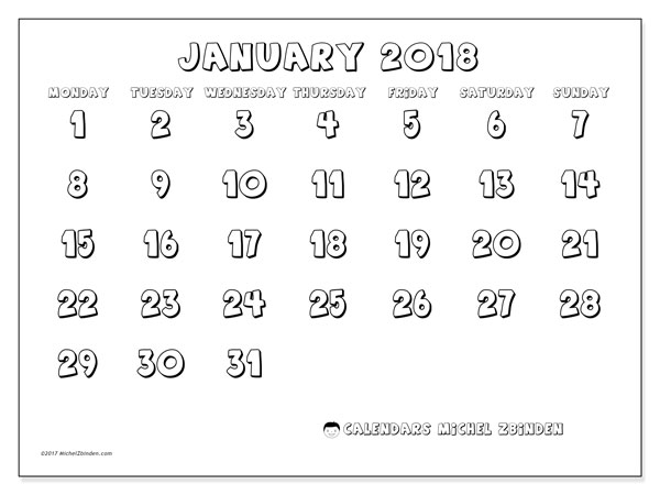 Calendar January 2018 (56MS). Free printable bullet journal.