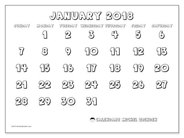 Calendar January 2018 (56SS). Free printable monthly planner.