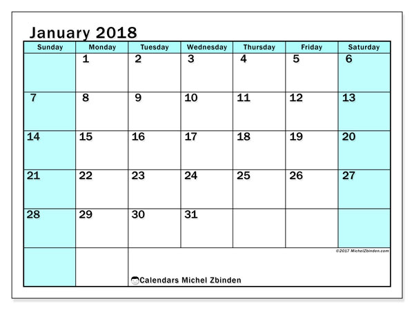 Calendar January 2018 (59SS). Free printable planner.