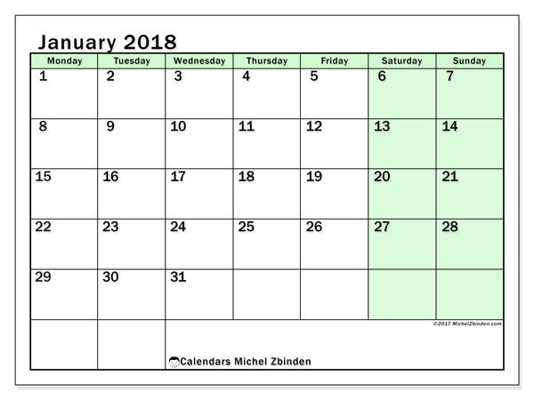 Calendar January 2018 (60MS). Free planner to print.