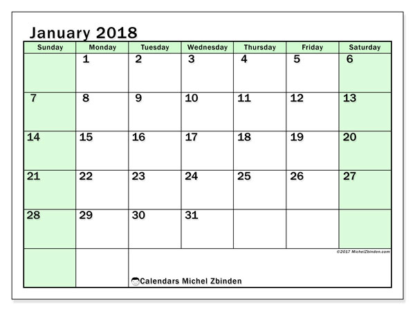 Calendar January 2018 (60SS). Calendar for the month to print free.
