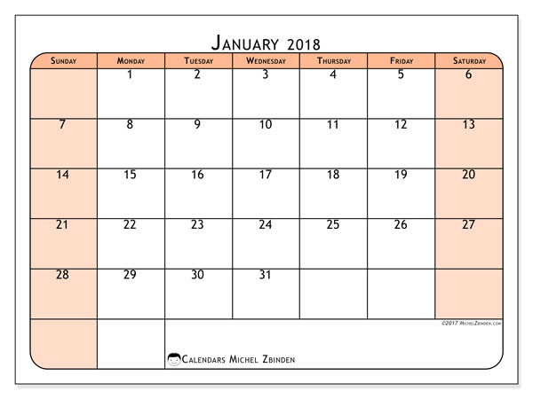 Calendar January 2018 (61SS). Calendar for the month to print free.