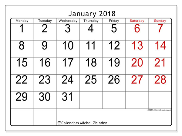 Calendar January 2018 (62MS). Monthly calendar to print free.