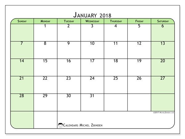Free printable calendar January 2018, 65SS. Monthly calendar.
