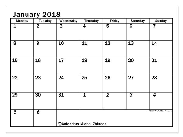 Calendar January 2018 (66MS). Monthly calendar to print free.
