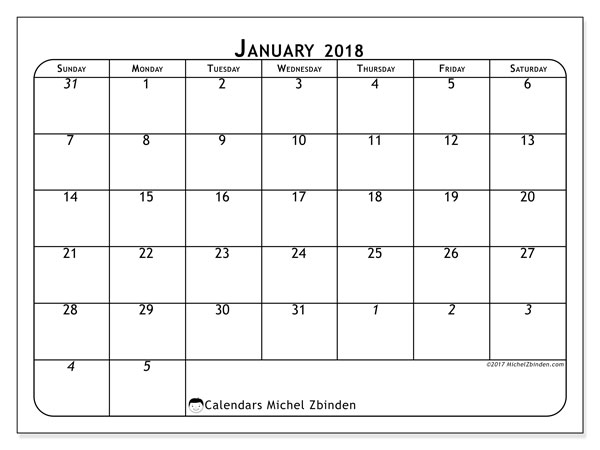 Calendar January 2018 (67SS). Monthly planner to print free.