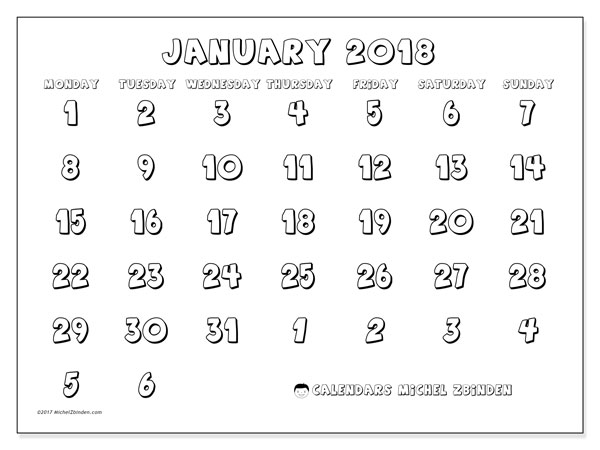 Calendar January 2018 (71MS). Free bullet journal to print.