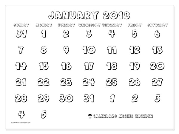 Calendar January 2018 (71SS). Monthly planner to print free.