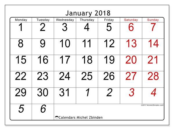 Calendar January 2018 (72MS). Free printable calendar.