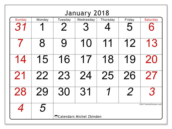 Calendar January 2018 (72SS). Monthly calendar to print free.