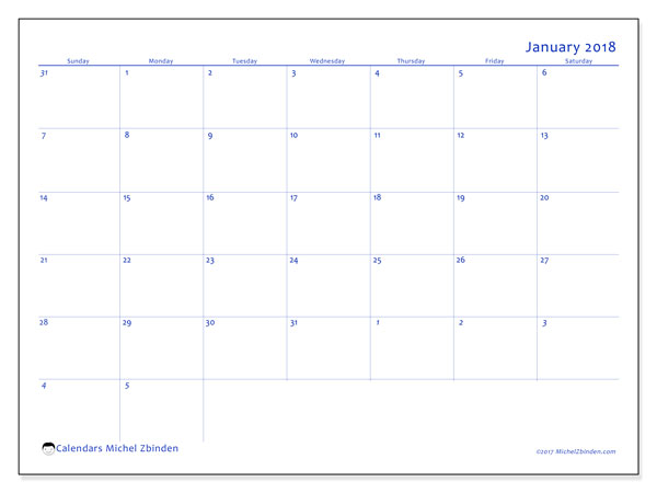 Free printable calendar January 2018, 73SS. Monthly calendar.