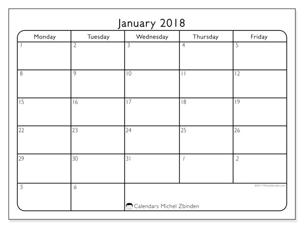 Calendar January 2018 (74SS). Free printable monthly calendar.