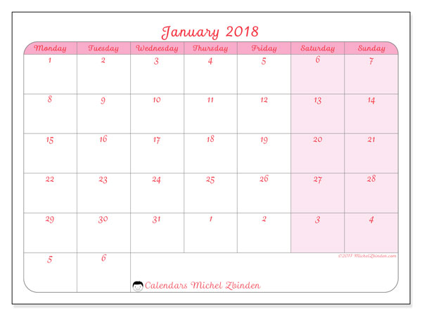 Calendar January 2018 (76MS). Bullet journal to print free.
