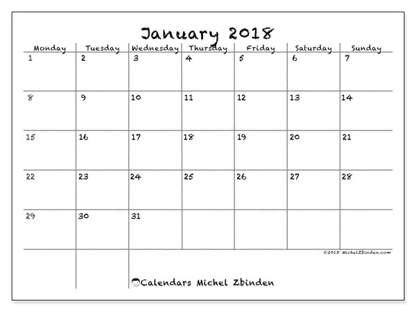 Calendar January 2018 (77MS). Monthly planner to print free.