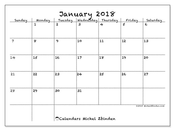 Calendar January 2018 (77SS). Free bullet journal to print.