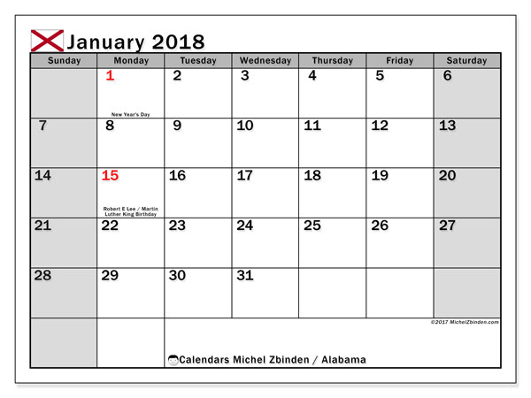 Calendar January 2018, with the holidays of Alabama. Free planner to print.