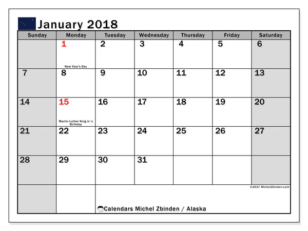 Calendar January 2018, with the holidays of Alaska. Monthly calendar to print free.
