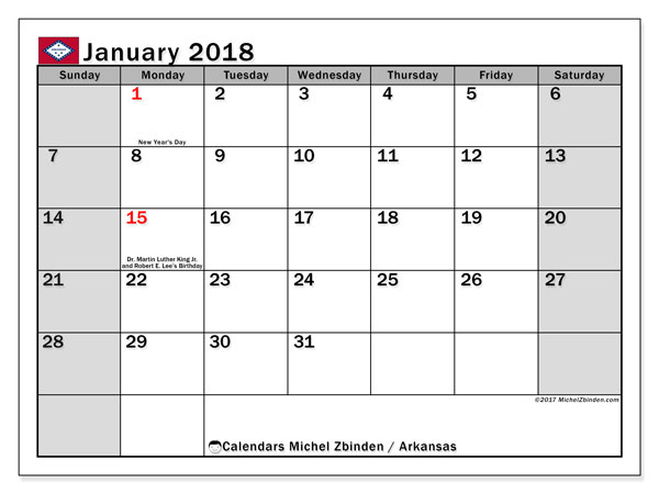 Calendar January 2018, with the holidays of Arkansas. Free printable monthly planner.