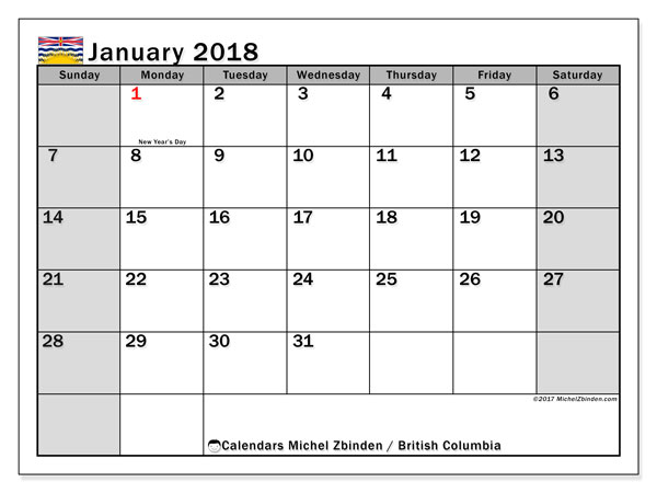 Calendar January 2018, with the holidays of British Columbia. Free printable planner.