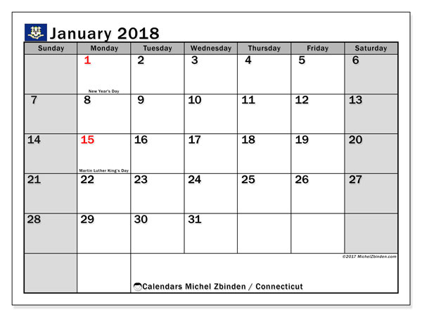 Calendar January 2018, with the holidays of Connecticut. Monthly planner to print free.