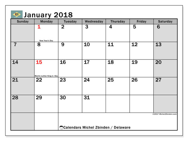 Calendar January 2018, with the holidays of Delaware. Free printable calendar.