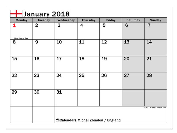 Calendar January 2018, with the holidays of England. Calendar to print free.