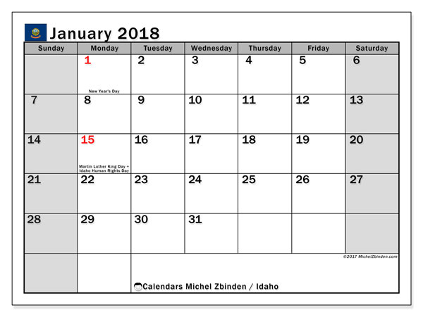 Calendar January 2018, with the holidays of Idaho. Calendar to print free.