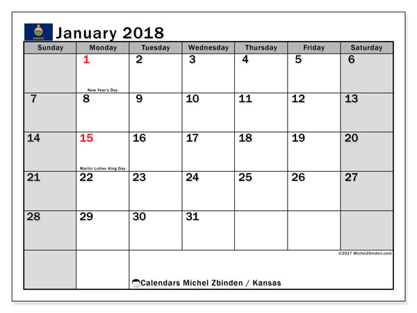 Calendar January 2018, with the holidays of Kansas. Free printable bullet journal.