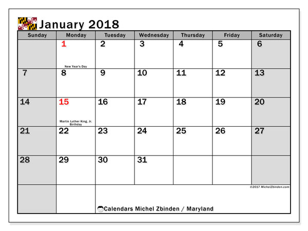 Calendar January 2018, with the holidays of Maryland. Free calendar to print.