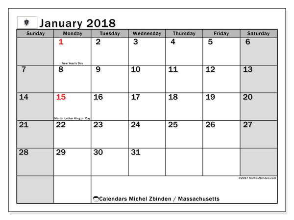 Calendar January 2018, with the holidays of Massachusetts. Free printable planner.