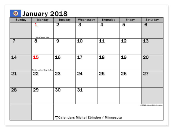 Calendar January 2018, with the holidays of Minnesota. Free planner to print.